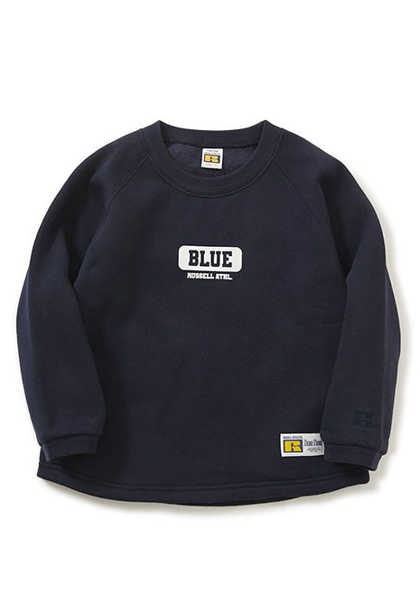 RUSSELL BLUEBLUE キッズ カレッジ B バックプリント クルー