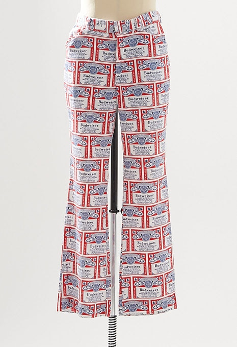 USED BUDWEISER ALL OVER PRINTED FLARE PANTS