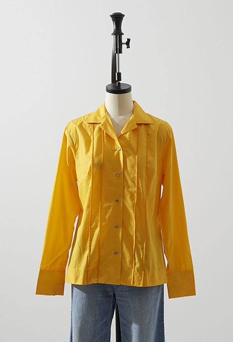 DEADSTOCK H BAR C POLY RAYON WESTERN SHIRT YELLOW