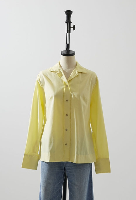 DEADSTOCK H BAR C POLY RAYON WESTERN SHIRT LT YELLOW